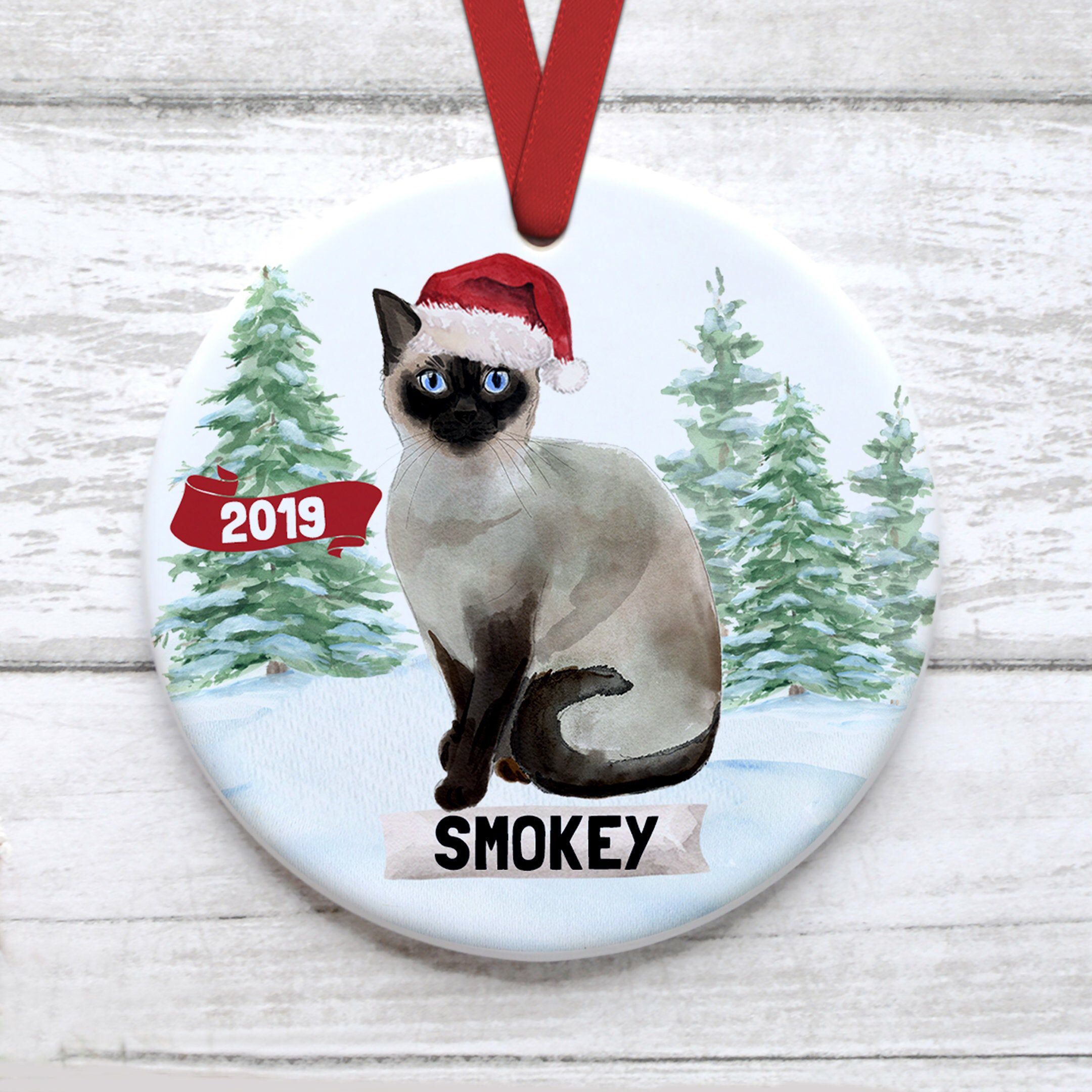 Siamese Cat Christmas Ornament Customized With Name Etsy In 2020