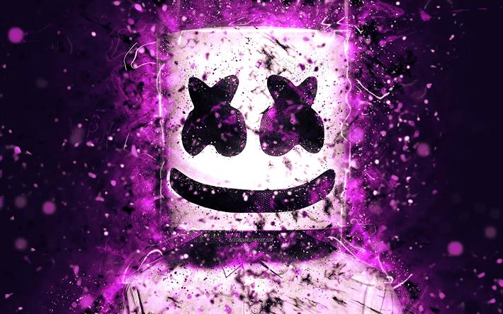 Download Wallpapers 4k Marshmello Christopher Comstock Purple Neon American Dj Superstars Neon Lights Fan Art Dj Marshmello Djs Besthqwallpapers Com Cool Pictures For Wallpaper Neon Wallpaper Graffiti Wallpaper