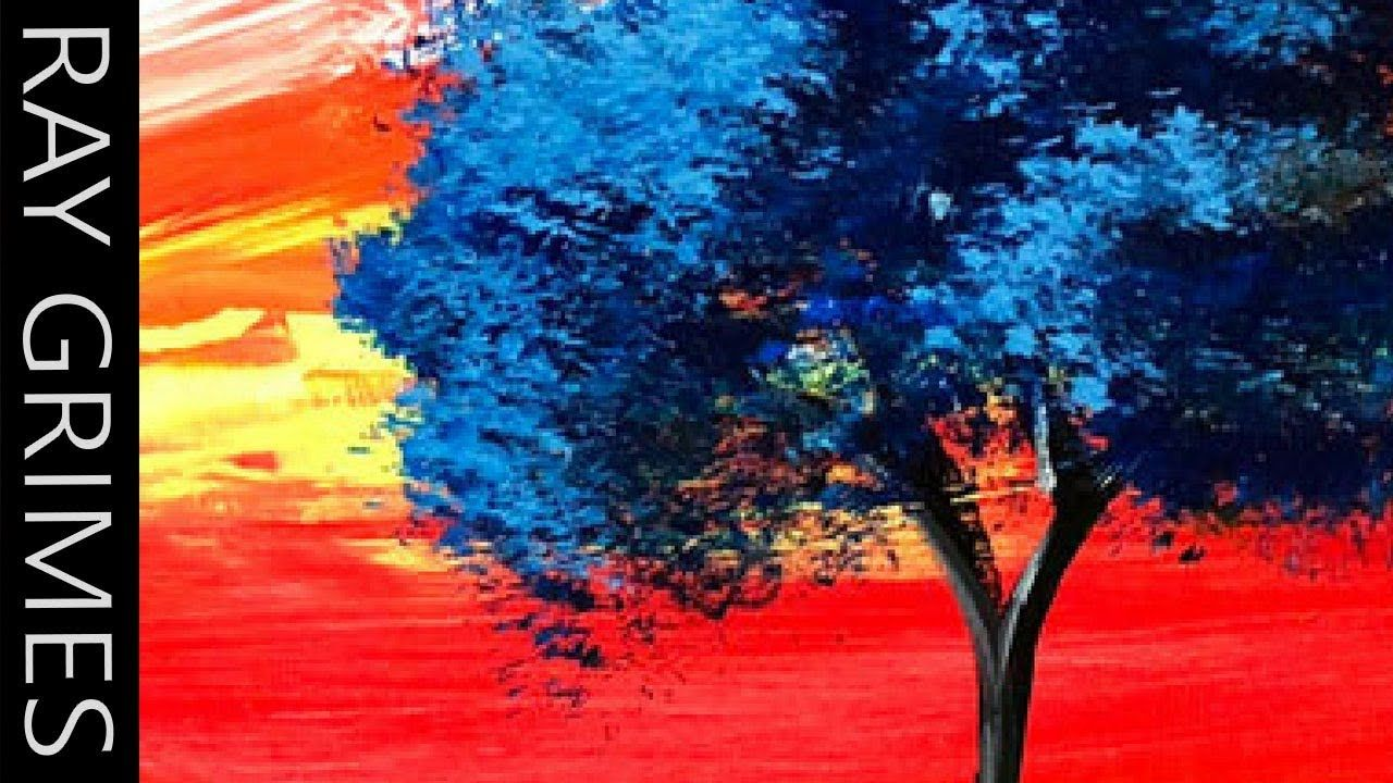 Abstract Painting Demo 104 Colorful Abstract Landscape Blue Tree Brush And Palette Knife Youtube Painting Demo Abstract Landscape Abstract Painting