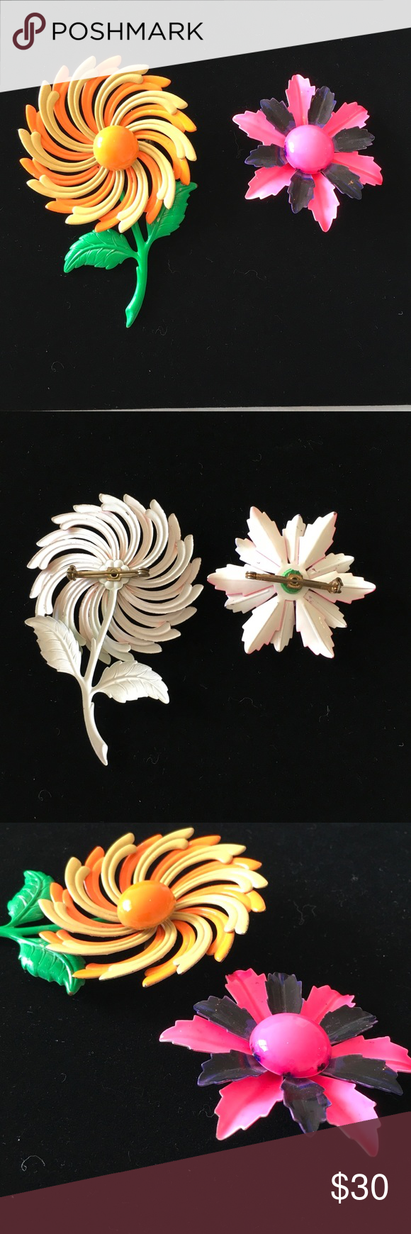 Two 1970s vintage flower brooches Two 1970 vintage flower pins.  Unsigned and unmarked. Appear to made of tin with a painted overlay. In impeccable condition. Vintage Jewelry Brooches
