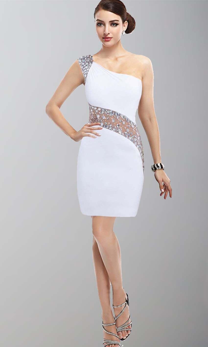 Cute sequin one shoulder bodycon short white grade dress