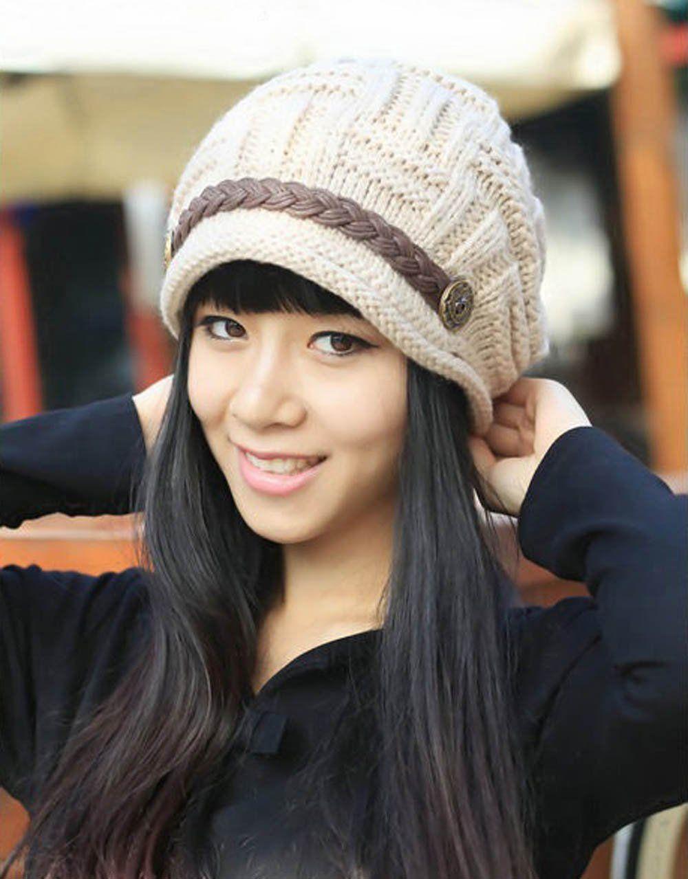 1c685590cf2 Beige Women Lady Beanie Crochet Hat
