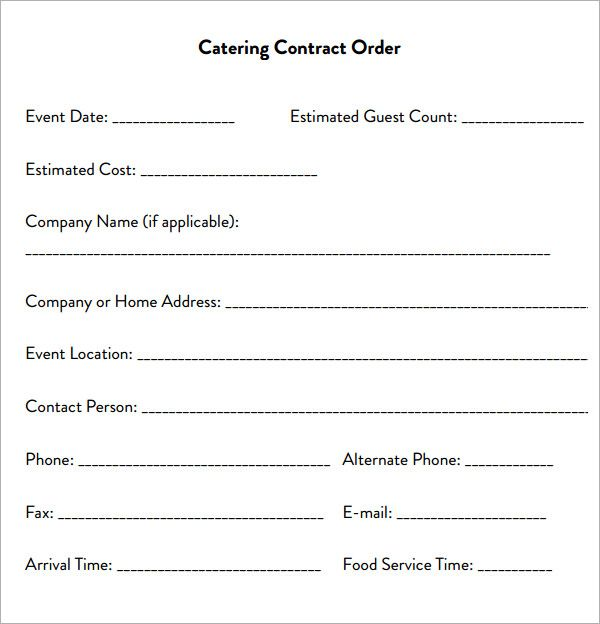 Catering Contract Sample Catering Contract Form  Catering A Party
