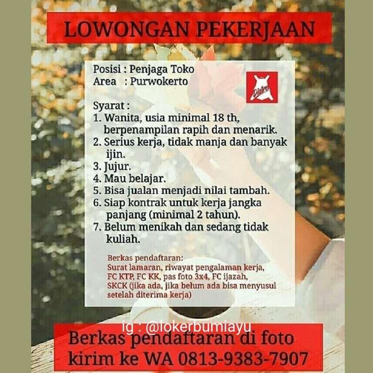 Lokerbumiayu Com Distro Purwokerto Adalah Toko Yang Menjual Berbagai Tas Dibutuhkan Segera Secepatnya Pekerja Baru Untuk Posisi Penjaga Belajar Toko
