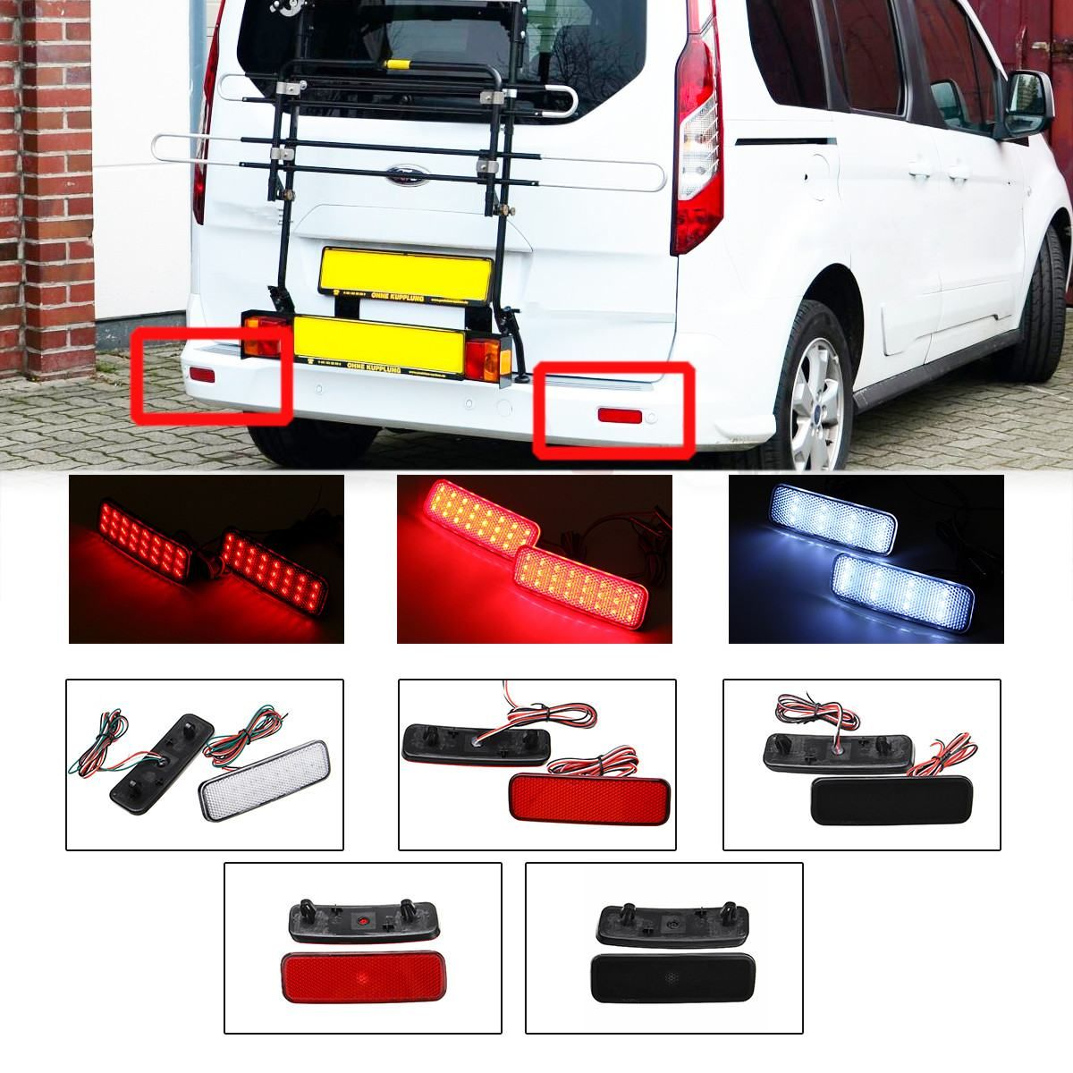 Pair Led Rear Bumper Reflector Tail Light Reverse Brake Stop Light Lamp For Ford Transit Van Custom Connect Tourneo 2013 Up