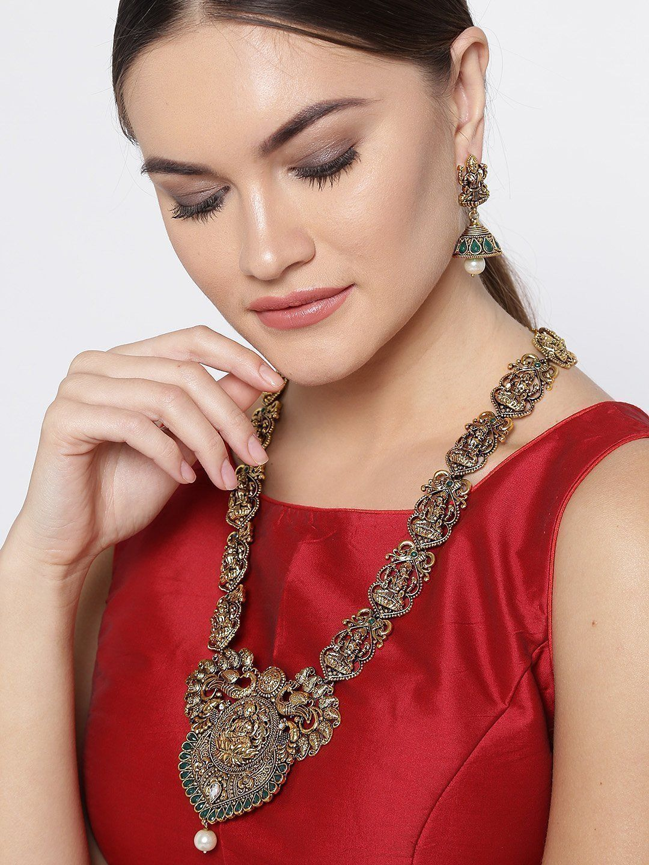 Zaveri pearls antique gold tone goddess lakshmi temple necklace set