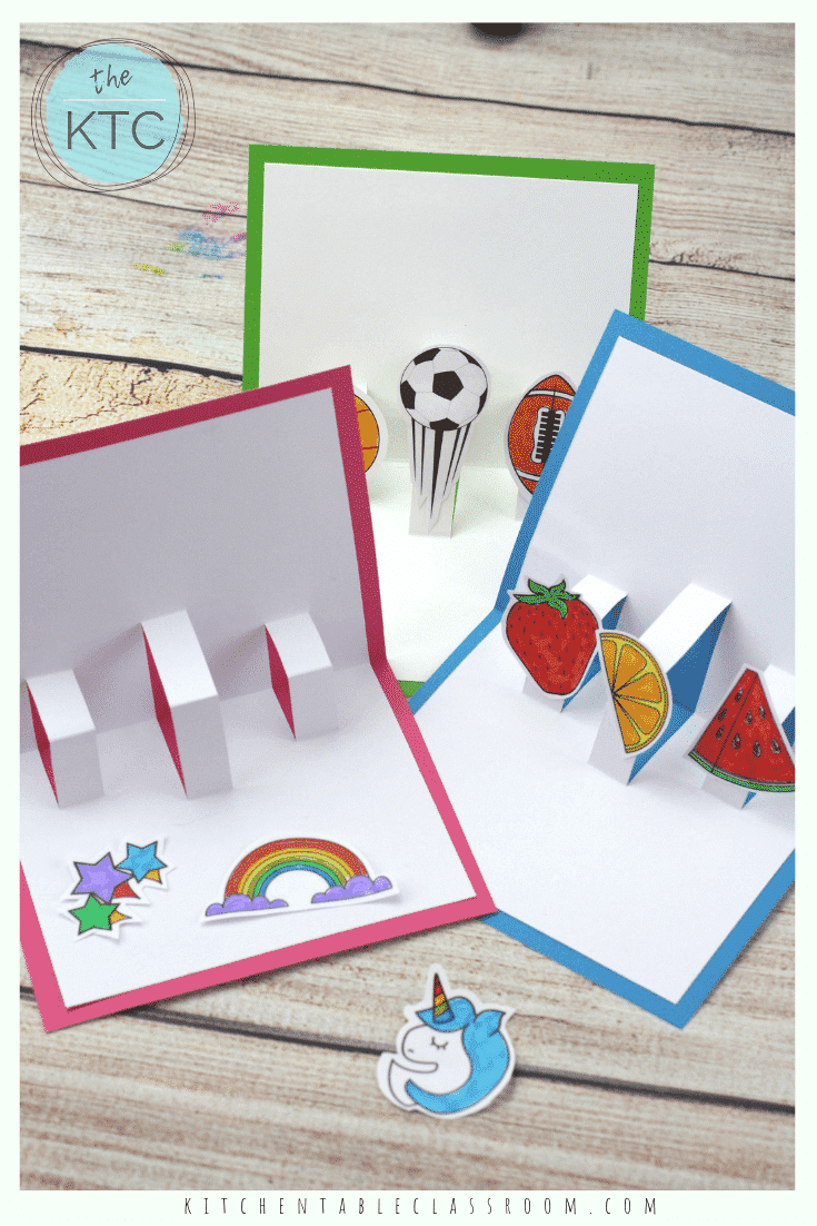 Build Your Own 3d Card With Free Pop Up Card Templates The Kitchen Table Classroom Pop Up Card Templates Card Making Templates Cards