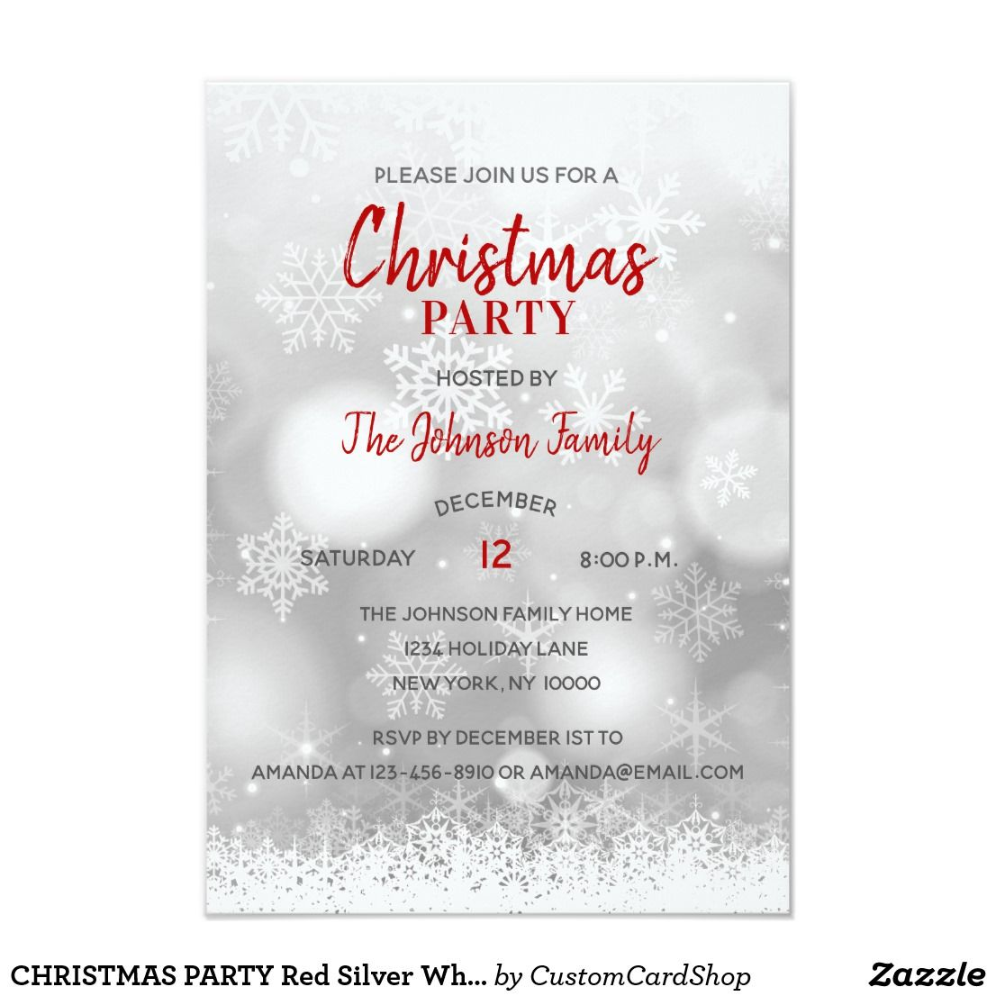 3 5 X5 Christmas Party Red Silver Snowflakes Snow