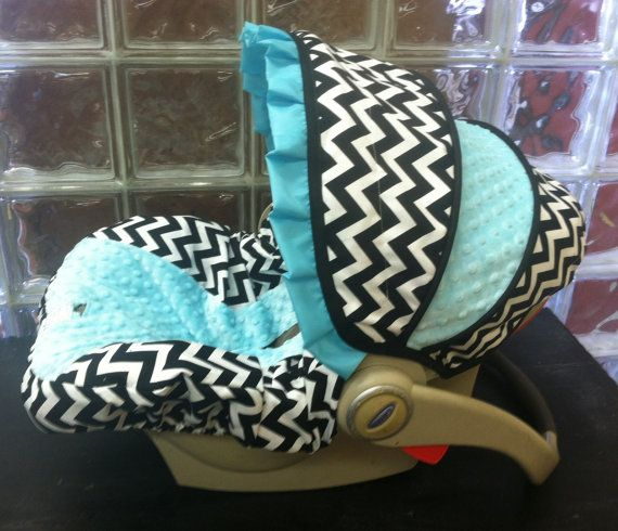 Black Chevron with Tiffany Blue Infant Car Seat by sewcuteinaz, $65.00
