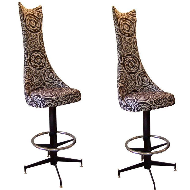 Pair Of Ultra High Back Barstools 1 Vintage Stool Bar Stools