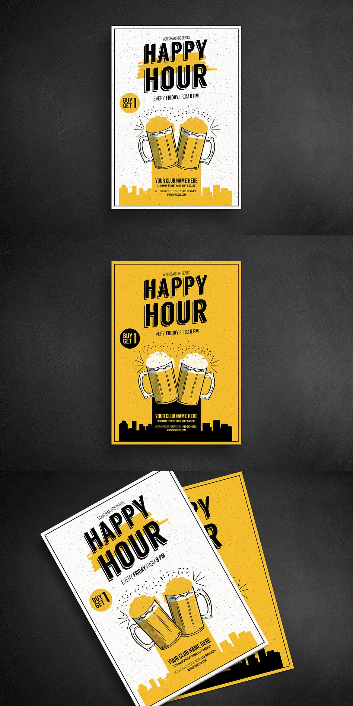 Happy Hour Beer Promotion Flyer Template AI, PSD - A4