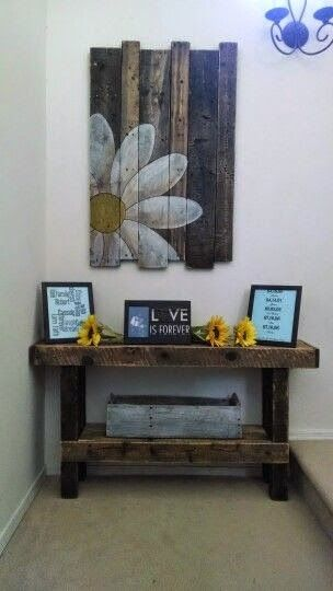 Pallet Projects - Pallet Table And Wall Art Home decor Pinterest