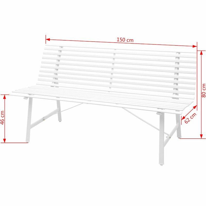 Vidaxl Garden Bench Steel 150x62x80cm White Outdoor Park Seat Home