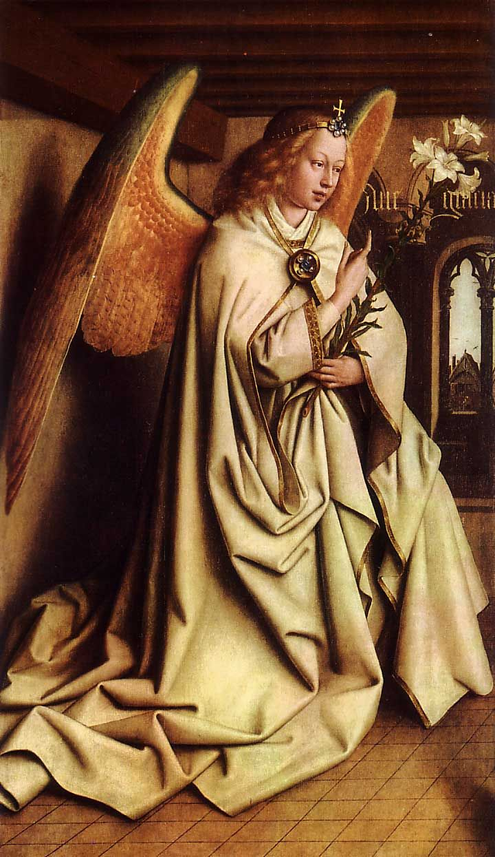 Jan van Eyck - Angel Annunciate, from exterior of left panel of the Ghent Altarpiece, 1432. St. Bavo Cathedral, Ghent, Belgium.