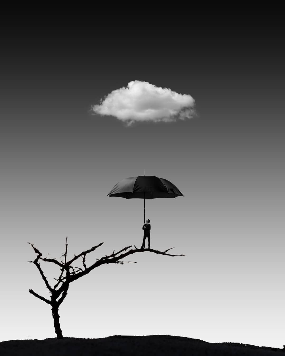 The compromise is a good umbrella, but a bad roof. (James Russell Lowell) . . . Compositing, CG and bnw edi #bestumbrella