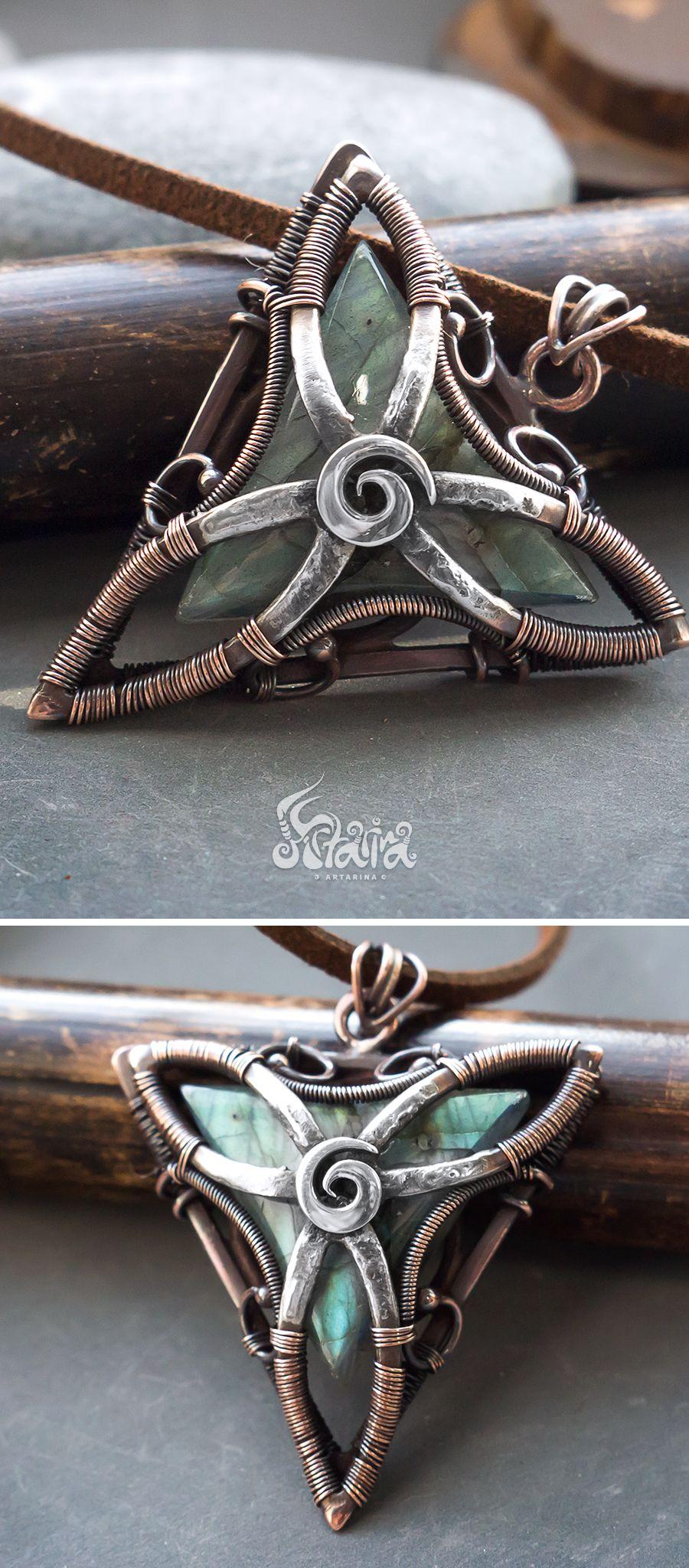 Triangle wire wrapped pendant // Copper and silver triangle pendant ...