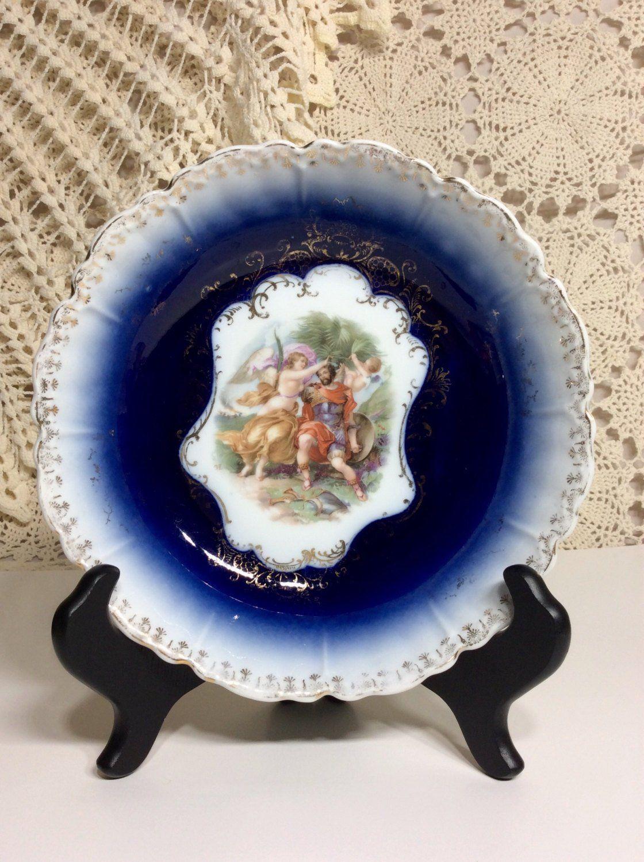 1900s Antique Royal Bavarian PMB Porcelain Cobalt Blue Wh