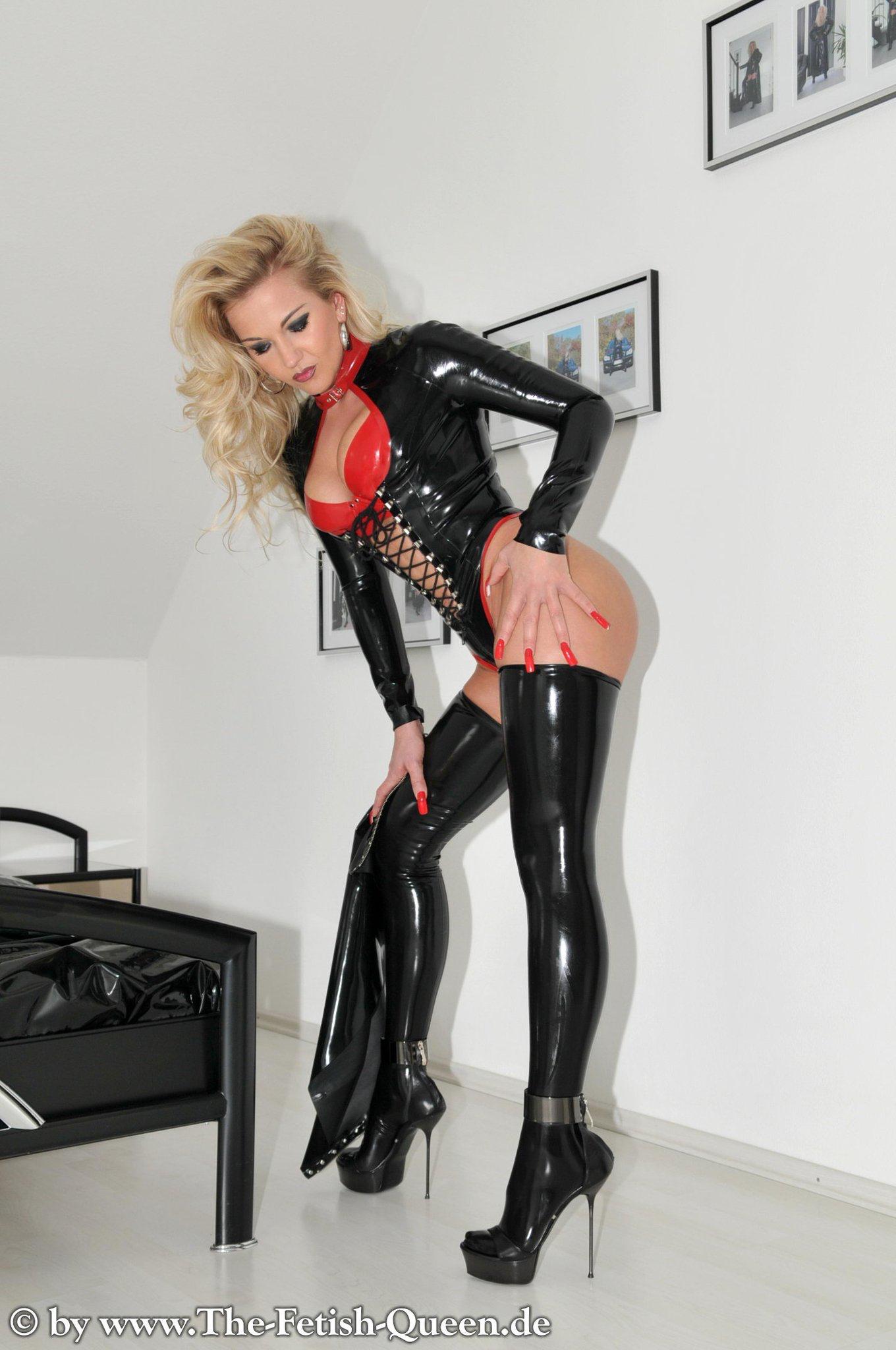 Blonde Milf In Latex Lingerie Heels Stockings