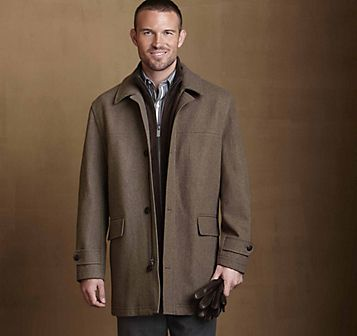 WOOL MELTON CAR COAT - Khaki Heather from Johnston & Murphy ...