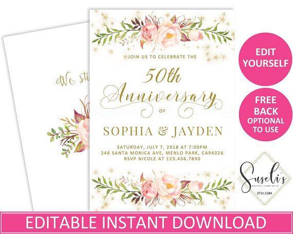 editable 50th or any year wedding anniversary invitation