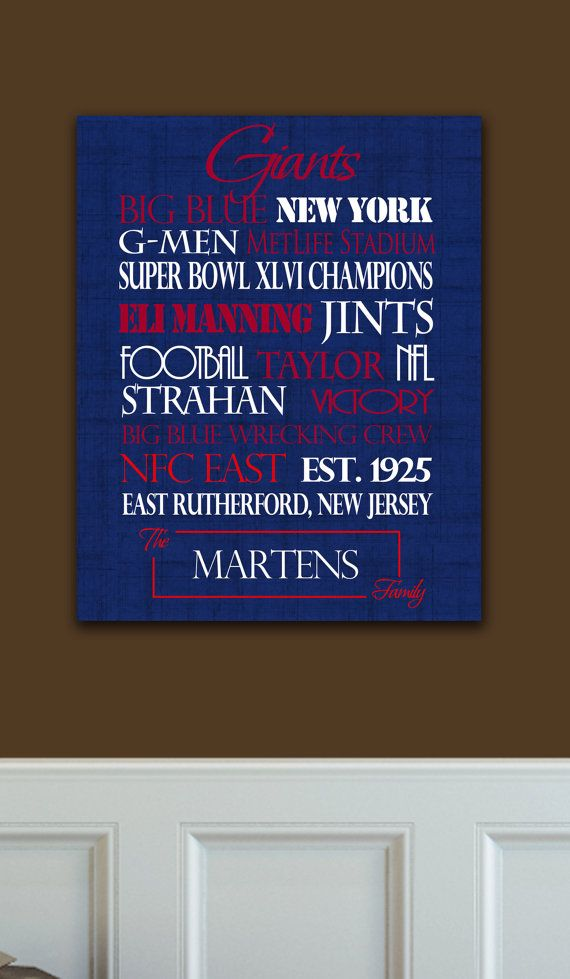 Personalized New York Giants Print or Canvas. ny giants. gifts for ... a571e21f1