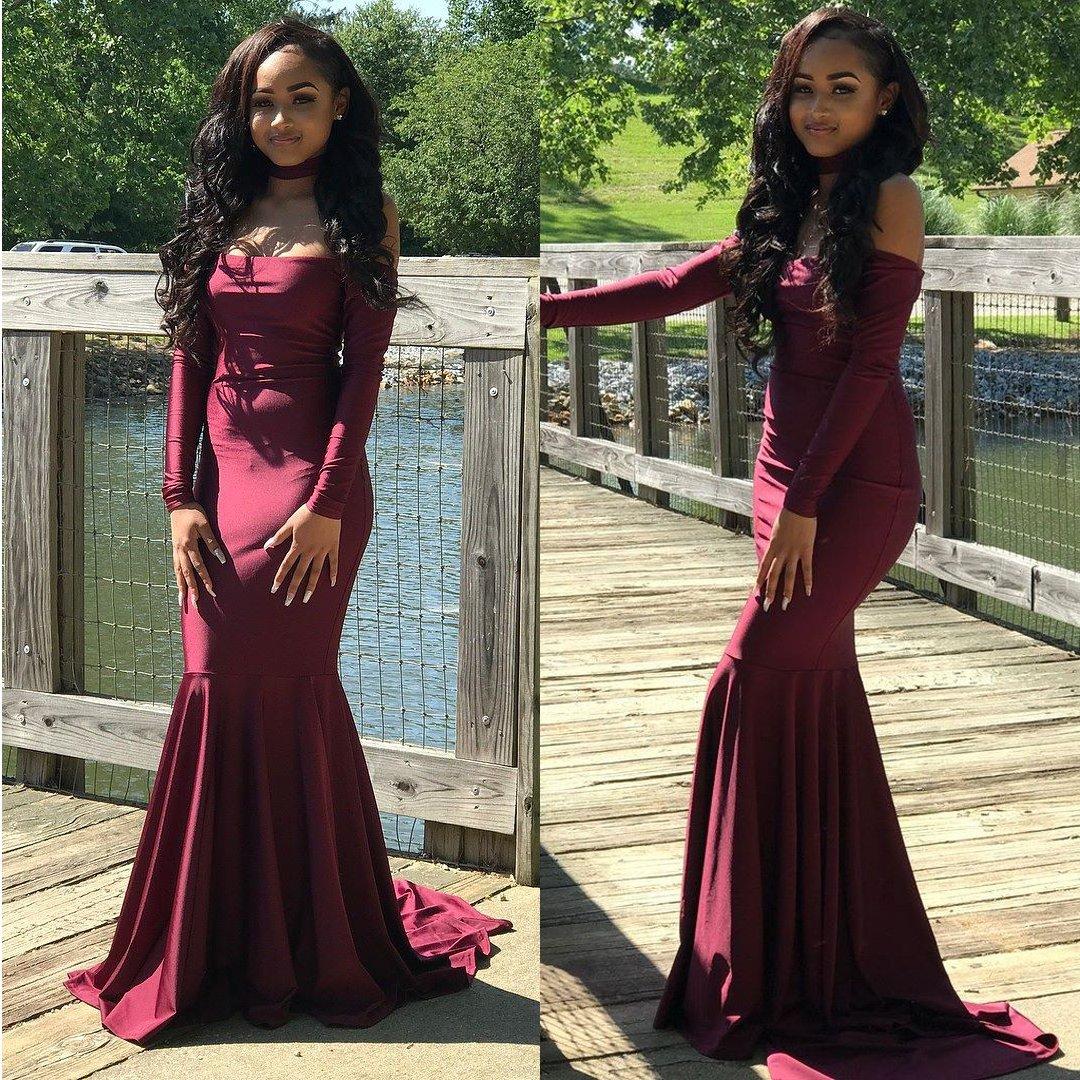 Burgundy long prom dresses mermaid long sleeves