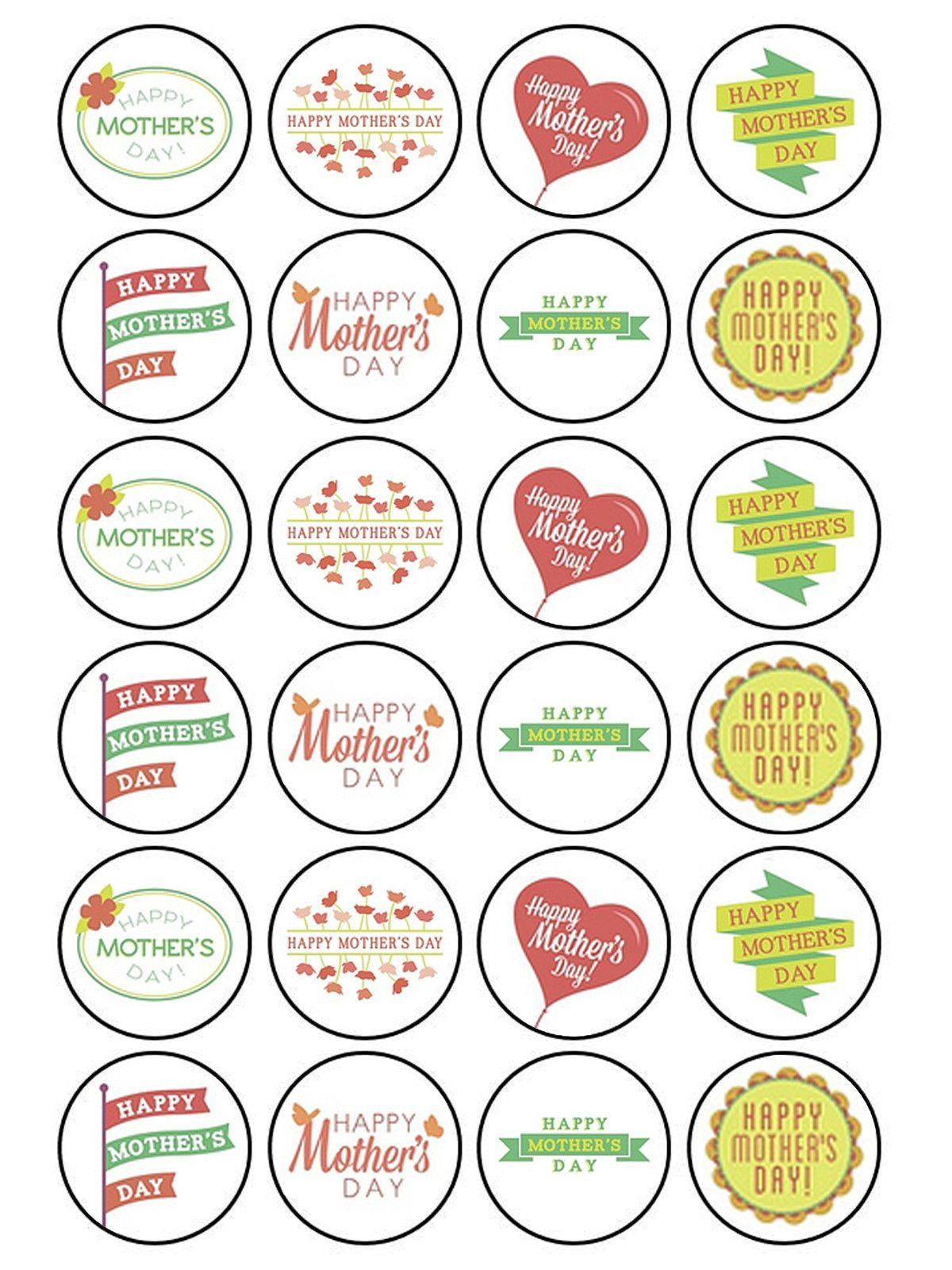 24 x Edible Mothers Day I Love Mum Mummy Birthday Muffin Cake Cupcake Toppers | eBay