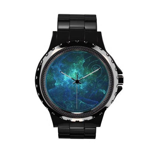 Aqua Flame Fractal Black Rhinestone Watch