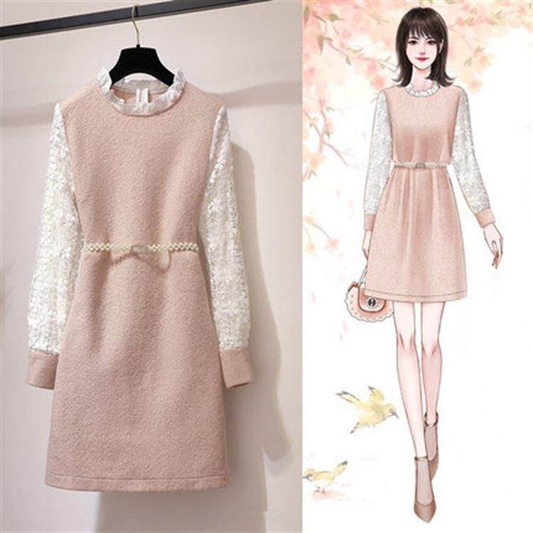 Ichoix Woolen Winter Dress Lace Sleeve Elegant Pink Women Dress Casual Midi Dress Pearl Belt Cute Long Sleeve Di 2020 Gaya Model Pakaian Model Pakaian Gaya Berpakaian