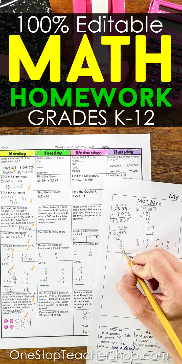 Math Spiral Review Homework, Morning Work, and Daily Math Review ...