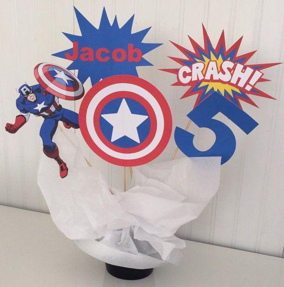 5 Piece Captain America Centerpiece, Superhero Centerpiece