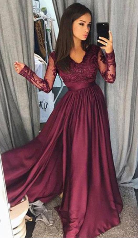 e2e71ab74 Chic Satin Chiffon V-neck Neckline Long Sleeves A-line Prom Dress ...