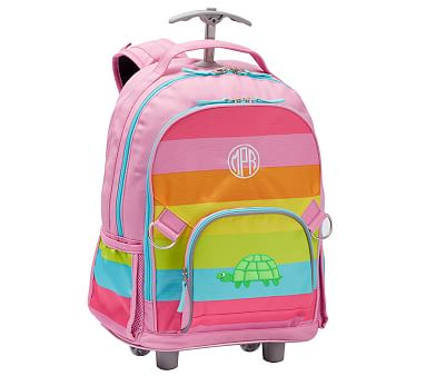 Pink Rainbow Stripe W Aqua Trim Trusty Turtle Rolling