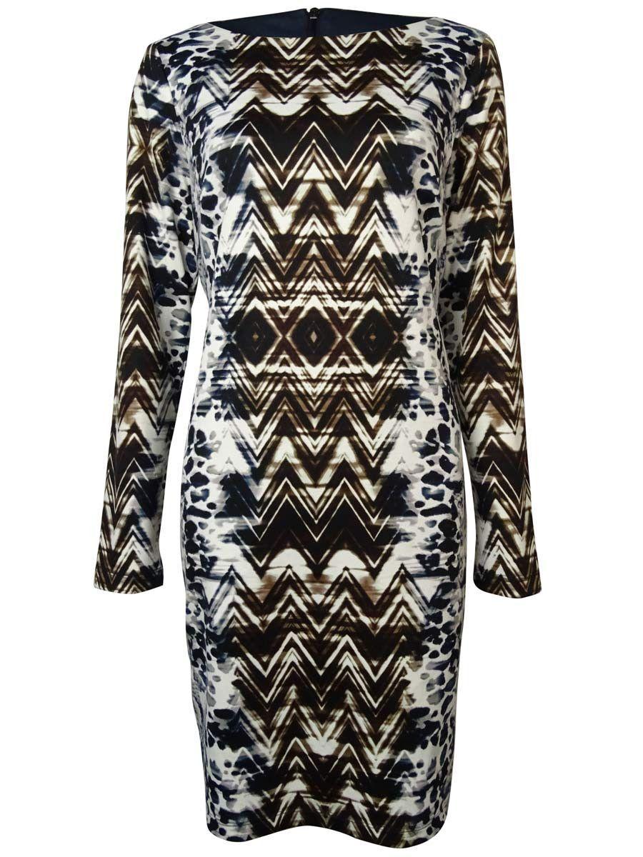 Vince Camuto Women's Chevron Animal Ponte Shift Dress