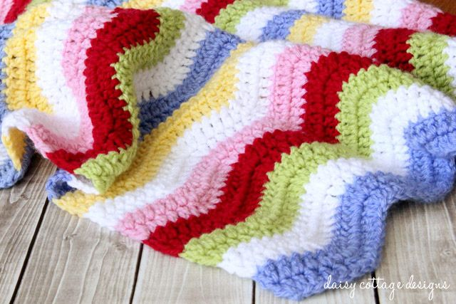 Baby Blanket Crochet Pattern {Rainbow Chevron Blanket} - Daisy Cottage Designs
