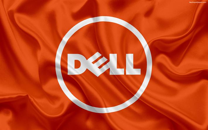 Download wallpapers Dell, blue emblem, Dell logo, orange silk flag