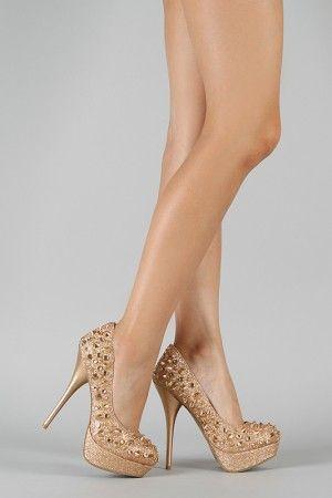 i want theseeeee.  Nicole Glitter Studded Platform Pump