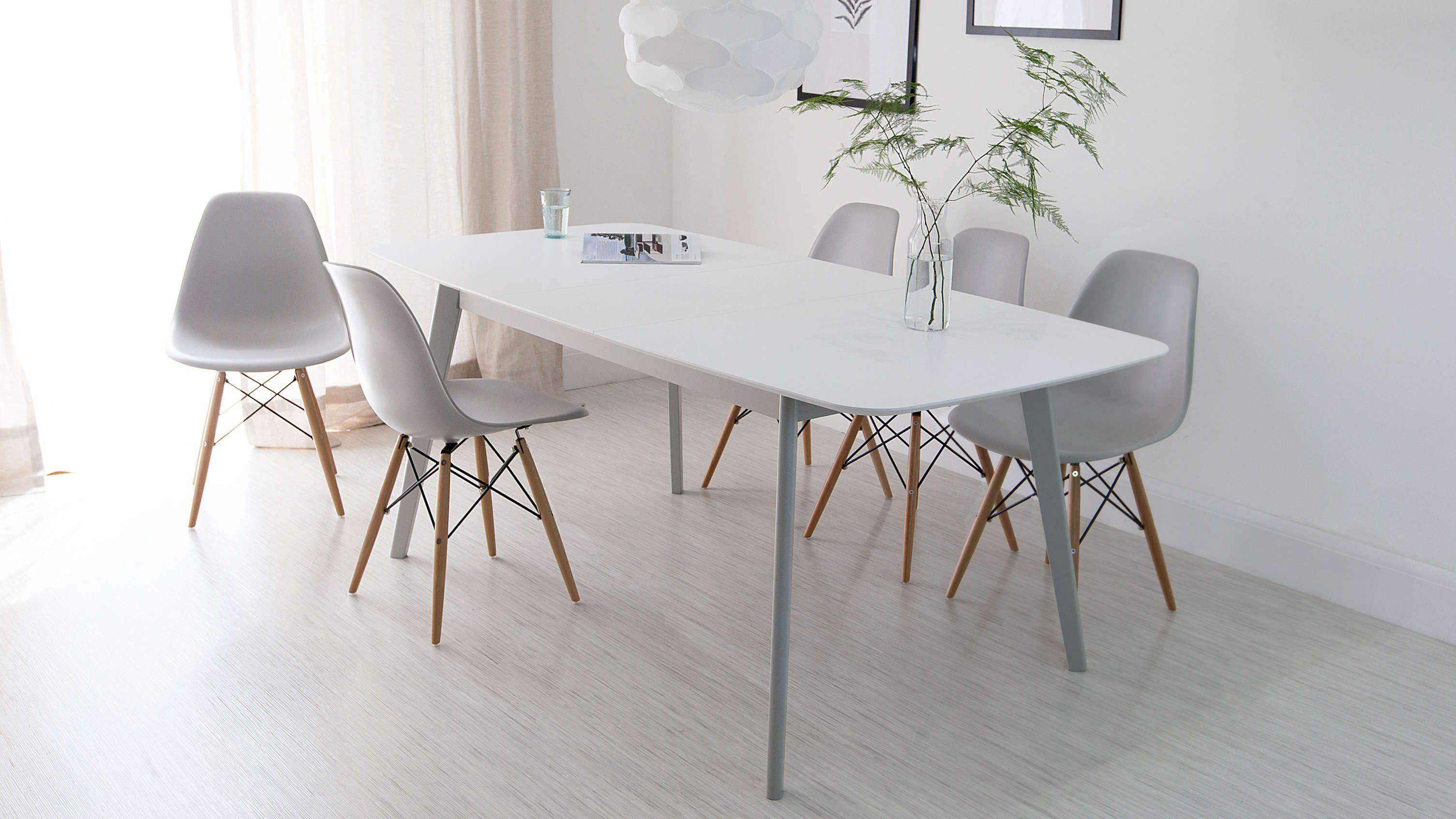 Modern Grey Eames Extending Dining Set