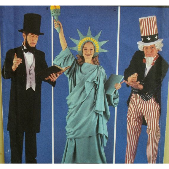 American Icons Costume Pattern Statue Of Liberty Uncle Sam Abe