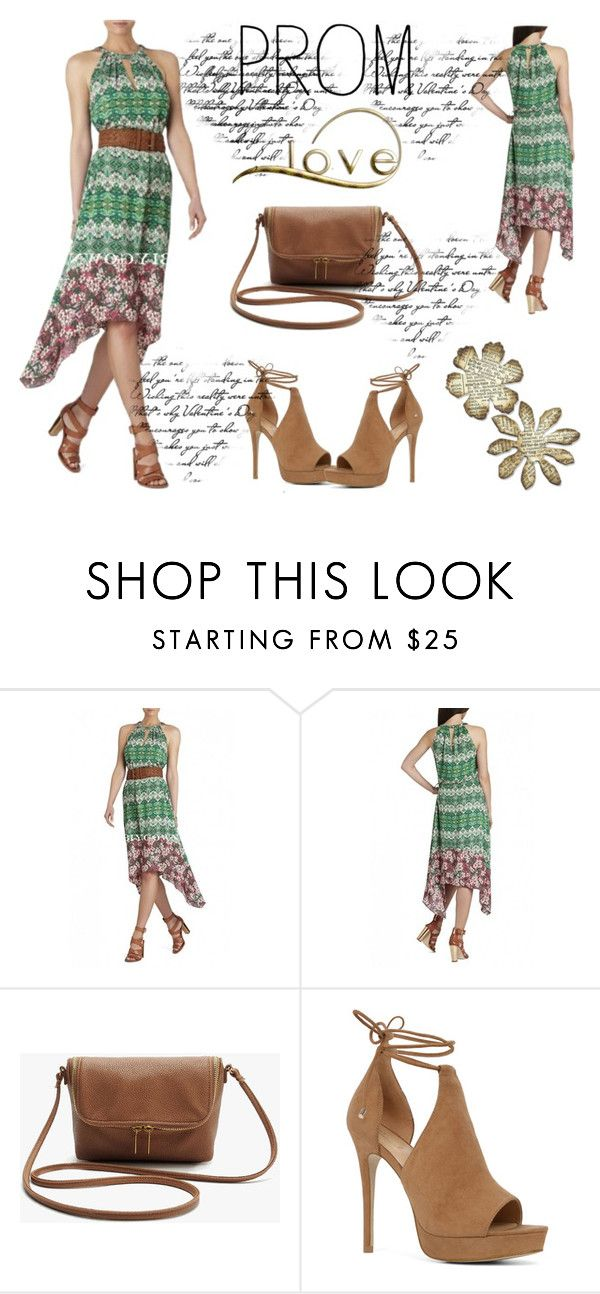 """""""13. BCBG Keelie Blocked Printed Halter Dress"""" by elma-993 ❤ liked on Polyvore featuring BCBGMAXAZRIA, ALDO, Prom and biygown"""