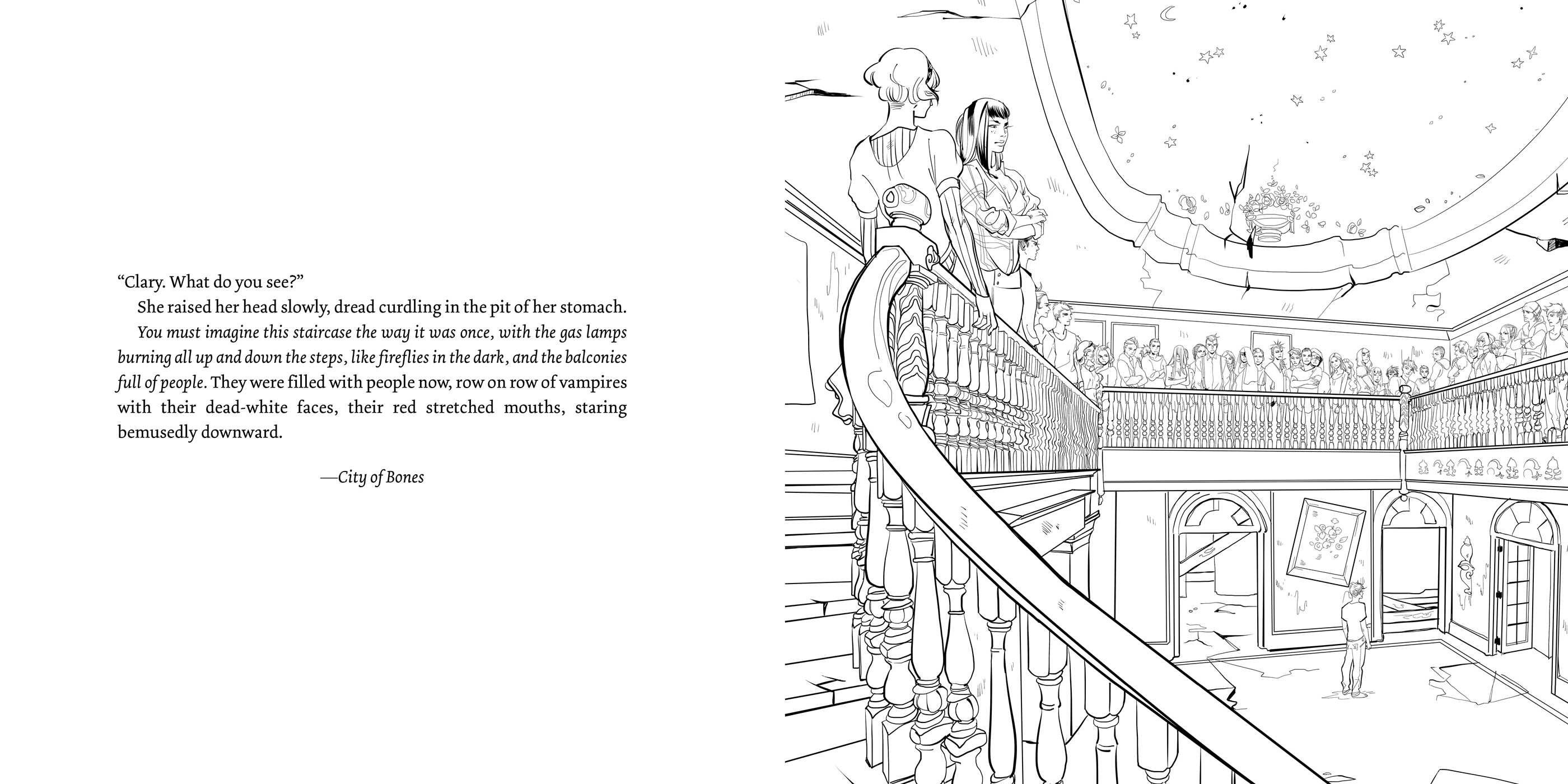 Page from the TMI colouring book clarissa 'clary' fray