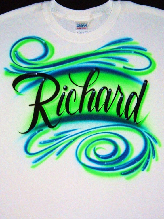 9bccffda2 Airbrush T Shirt Script Name Swirls, Airbrush Name Shirt, Airbrush Shirt, Airbrushed  Shirt, Airbrush