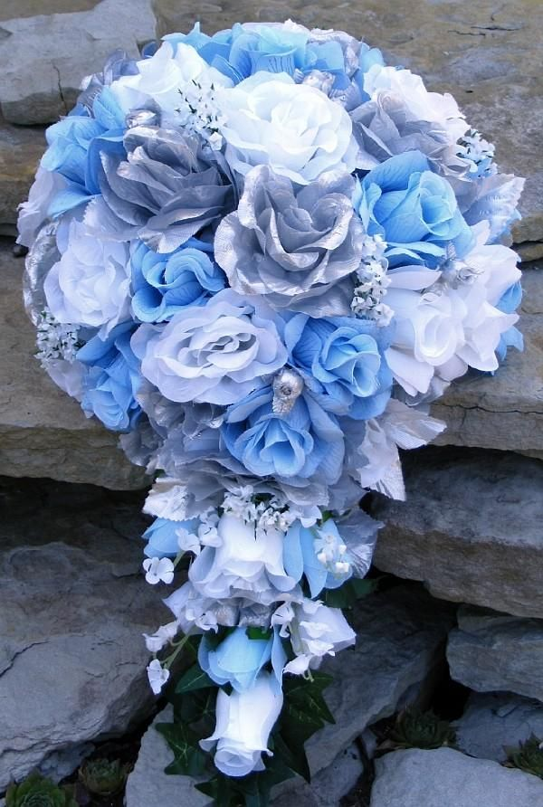 Blue wedding flowers for May | silver and blue wedding flowers ...