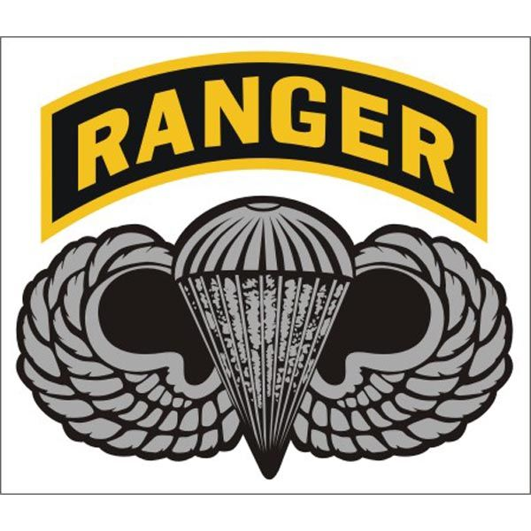 us army ranger tab with airborne wings 4 inch long sticker decal rh pinterest com