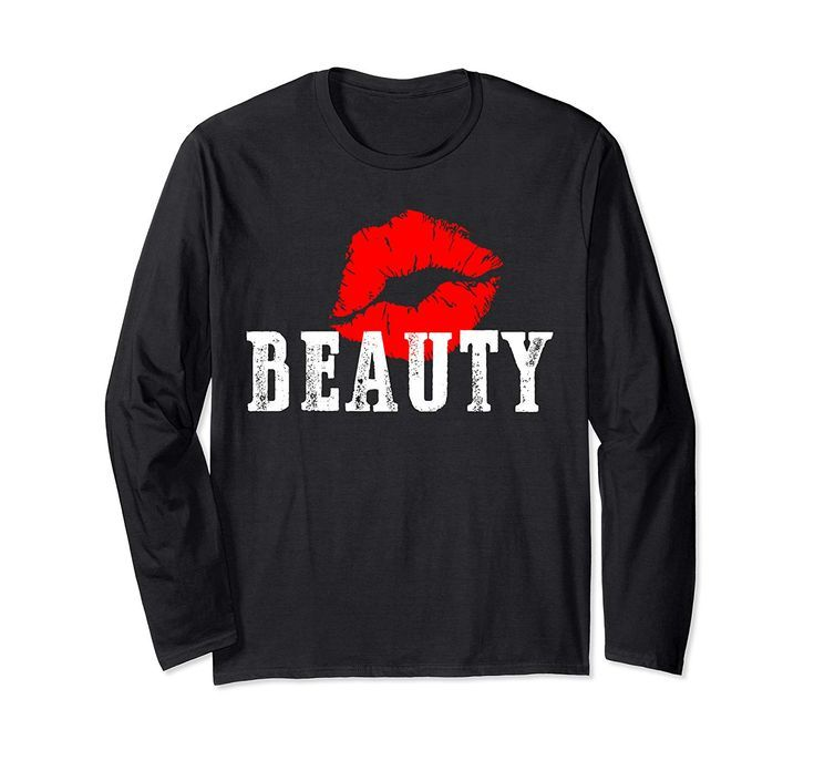 Red lips Beauty beast matching Halloween costume for couples Long Sleeve TShirt