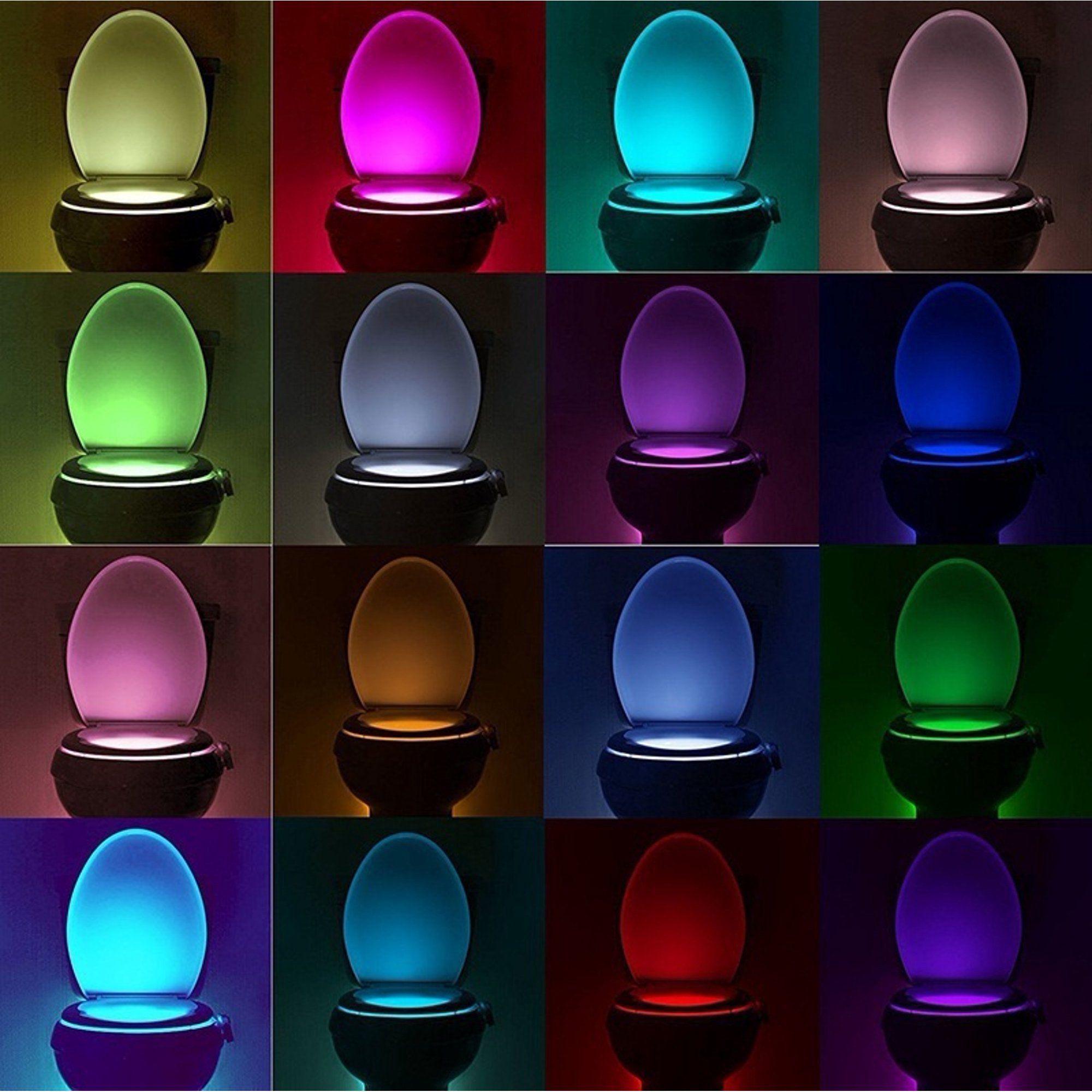 Motion Sensor Toilet Seat Lighting 8 Colors Backli
