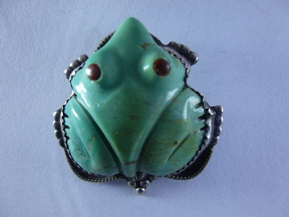 Vintage zuni native american green turquoise frog pendant for vintage zuni native american green turquoise frog pendant for necklace pin brooch sterling silver jewelry aloadofball Image collections