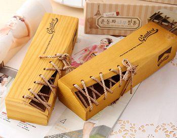 Baseball Fans Wood Pencil Case Pencil Box Cool Gift Shoelace Design