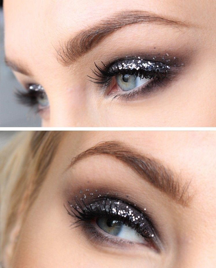 Photo of A smoky party make-up for eyes in shimmering gray