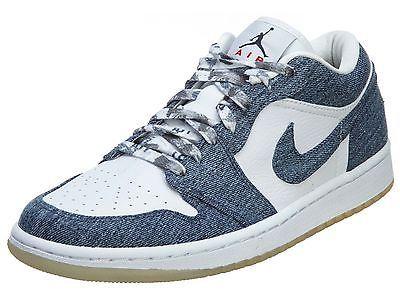 c198fc98d64e74 Nike Air Jordan 1 Retro Low Womens 315921-141 Denim White Shoes Sneakers Sz  10.5